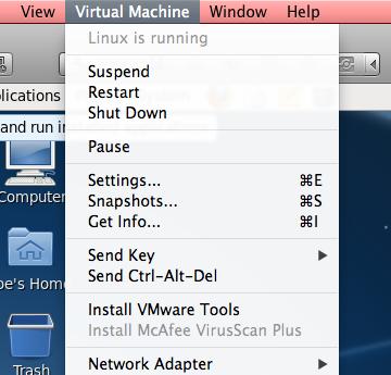 VMware menu
